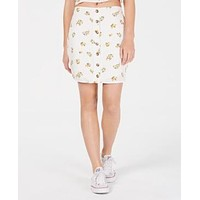 Polly & Esther Juniors Button-Front Skirt - White Floral