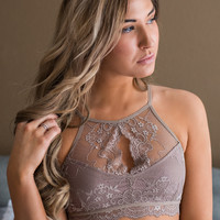 Wait For My Love Halter Lace Racer Back Cut Out Bralette (Cocoa)