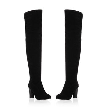 New Fashion Australia Boots Women High-heel Black Over The Knee High Boots Nubuck Leather