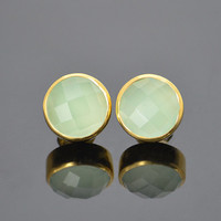 Faceted Round Peridot Green Chalcedony Vermeil Gold or Sterling Silver bezel set Stud Post Earrings - August Birthstone