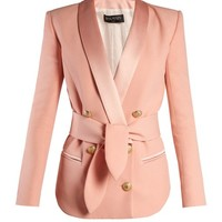 Double-breasted belted crepe blazer | Balmain | MATCHESFASHION.COM US