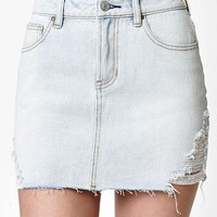 LMFON PacSun Destructed Light Denim Mini Skirt