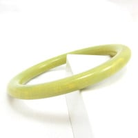 Tested Spinach Green Marbled BAKELITE Bangle Bracelet Plastic Vintage Estate Costume Jewelry Designer Round 1950s RARE
