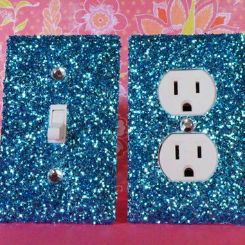 CHUNKY TURQUOISE Glitter Switch Plate Outlet Covers SET OF 2. ALL Styles Available!