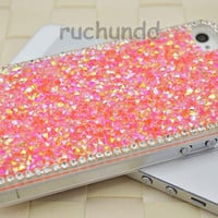 IPhone Case - Luxury Handmade Sweet Pink Bling Crytal Rhinestones Hard Case Cover Skin For Apple IPhone 4 4S 4G