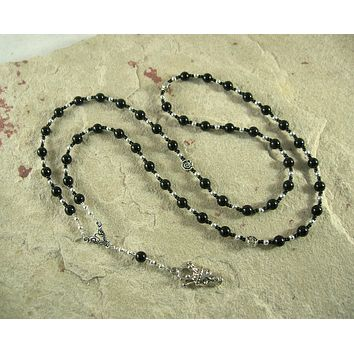 Hades Prayer Bead Necklace in Black Onyx: Greek God of Death and the Afterlife