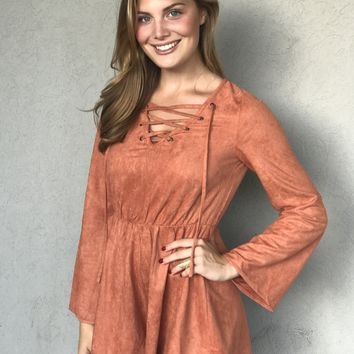 Total Babe Suede Romper in Rust