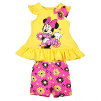 Girls clothes suit summer t-shirts with shorts beach children clothing set