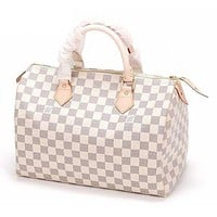 "LV ""Louis Vuitton"" Popular Women Zipper Print Leather Tote Handbag Shoulder Bag I"