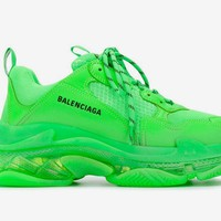 Hcxx 19Sep 312 Balenciaga Triple S Neon Green Adds A Clear Bubble Midsole Fashion Casual Sneaker