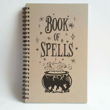 Book of Spells, 5x8 writing journal, custom spiral notebook, personalized brown kraft memory book, small sketchbook scrapbook cauldron magic