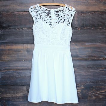 sunday picnic floral crochet dress - ivory