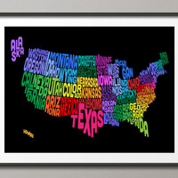 United States Typography Text Map, Art Print 18x24 inch (206)