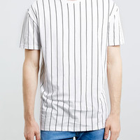 WHITE VERTICAL SKATER STRIPE T-SHIRT