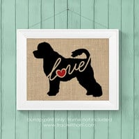 Portuguese Water Dog Love - Burlap or Canvas Printed Wall Art for Dog Lovers. Maltese / Poodle Mix - Shabby Chic, Cottage Style Wall Hanging