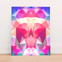 Abstract Geometric Polygon Digital Art Print Instant Download, Motivational Art Print, Colorful Poster, Geometric Art Fall Pink Purple