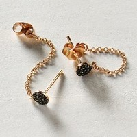 Black Diamond Chained Studs in 14k Rose Gold by Liven Co. Rose Gold All Earrings