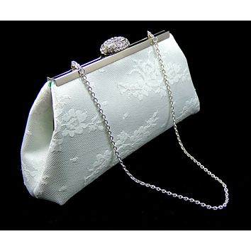 White and Mint Green Bridal Clutch