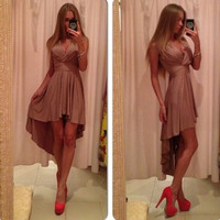 Elegant Sexy Women's Long Dress V-neck Sleeveless One Piece Soft Party Dress = 1958020676