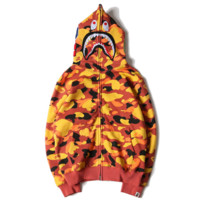 Bape Aape Autumn And Winter New Fashion Shark Camouflage Women Men Hooded Long Sleeve Sweater Coat