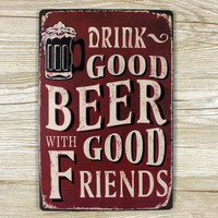 Beer With Friends Wall Sign - Metal