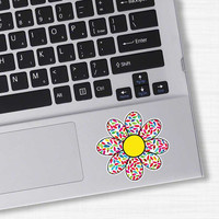 Small Daisy Flower Laptop Decal - Cute Colorful Floral Bumper Sticker Car Decal Red Yellow Blue Hot Pink Lime Green Teal Girly Wall Decal