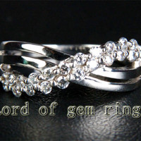 Unique Natural .35ctw Diamonds Solid 14K White Gold Engagement Wedding Band Ring