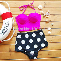 2016 Fast Shipping Sexy Print Dot High Waist Bikinis Set Push Up Bandage Swimwear Women Swimsuit Strapless Trikini Bathingsuit