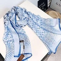 Onewel Louis Vuitton LV Newest Hot Sale Woman Comfortable Cashmere Scarf Shawl Silk Scarf Blue