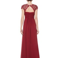 Burgundy Rhinestone Lace Paneled Backless Maxi Dress