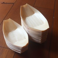 "x50 Wooden Ice Cream Holders Dessert Food Cake Serving Trays 5"" 6"" 7"" 8"" Disposable Sushi Boat Wedding Birthday Party Supply"