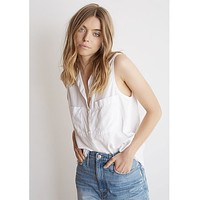 Trimmed Sleeveless Button Down White