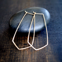 Chevron Hoop Earrings - Silver and Gold