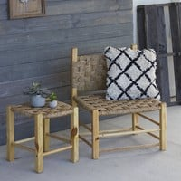 Woven Rush and Wood Stool