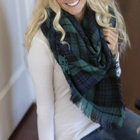 Oversized Blanket Scarf - Green