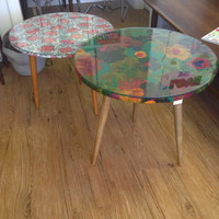 Glass Top Round Side Tables with Funky Fabrics
