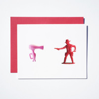 hair dryer vs. cowboy card set of 4 birthday pink stationery hipster