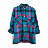Vintage 80s Vintage Flannel Plaid Shirt in Pink & Teal  - men's medium