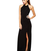 Halter Cutout Back Side Slit Hip Wrapped Maxi Dress