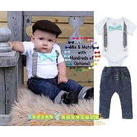 Baby Boy Outfit Black Chevron Suspenders and Mint Bow Tie