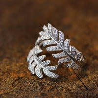 Crystal Palm Tree Leaf Branch Ring Adjustable Twig Ring Matt Gold Silver Plated Jewelry gift idea Open Free size Knuckle Ring