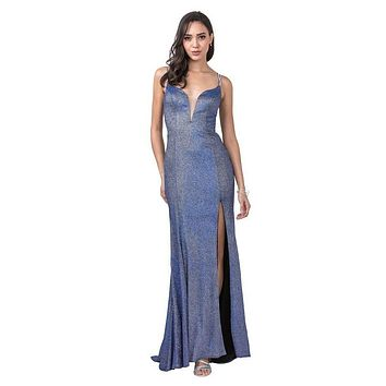 Royal Blue Cut-Out Back Long Prom Dress with Slit