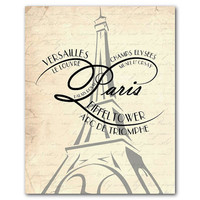 French Wall Art - Paris Typography - Eiffel Tower - 8 x 10 or larger print - Typography - Subway Art - Travel -Your choice of background