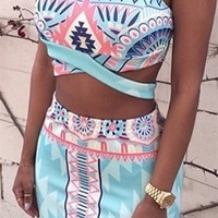 In the Right Tribe Blue Pink White Black Tribal Geometric Sleeveless Scoop Neck Cut Out Crop Bodycon Two Piece Mini Dress