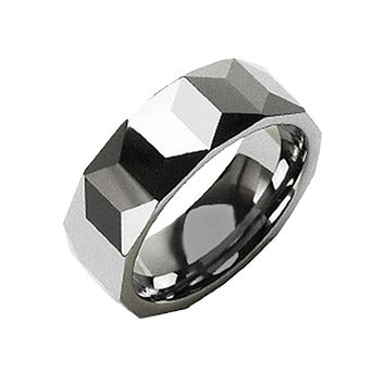 Shadow Play - Prism Cut Stylish Tungsten Carbide Comfort Fit Ring