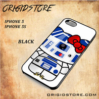R2D2 Star Wars Hello Kitty Black White Snap On 3D For Iphone 5/5S Case