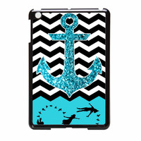 Peter Pan Mint Glitter Anchor Black Chevron iPad Mini 2 Case