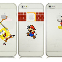Cartoon Mickey Spongebob Super Marios Bros Transparent Hard Plastic Case Cover For iphone 4 4s 5 5s SE 5c 6 6s Plus 7 7 Plus