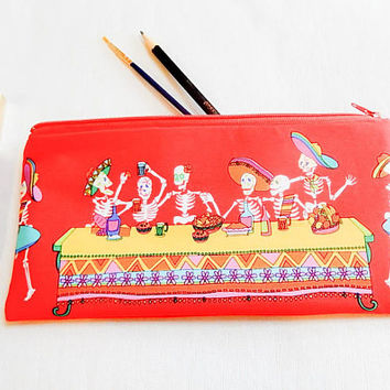 Pencil Pouch, Pencil Case, Gift for Her, Bestfriend Gift, Mom Gift, Halloween Gift, Make Up Bag, Gift for Wife 2017, Day of The Dead Pouch