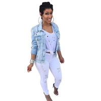 Women Jeans Jackets 2016 Spring Autumn Denim Basic Coats Long Sleeve Hole Coat Vintage Ripped Jackets Outwear Chaquetas Mujer